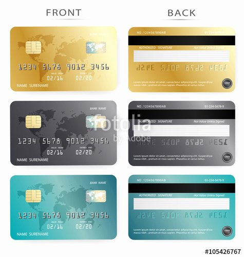 """vector Set Gold Dark and Blue Credit Debit Card Design"
