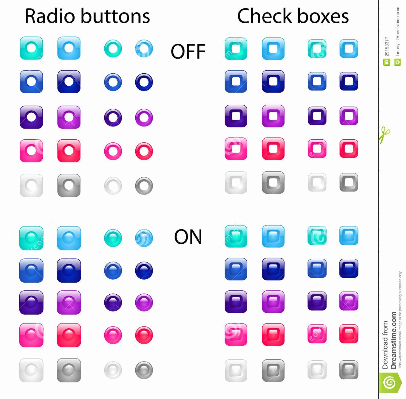 Radio buttons and Check Boxes Stock Vector Image