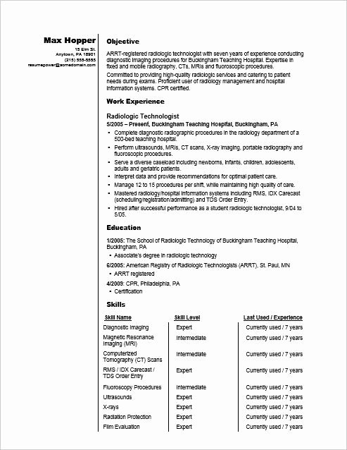 Radiographer Resume Sample