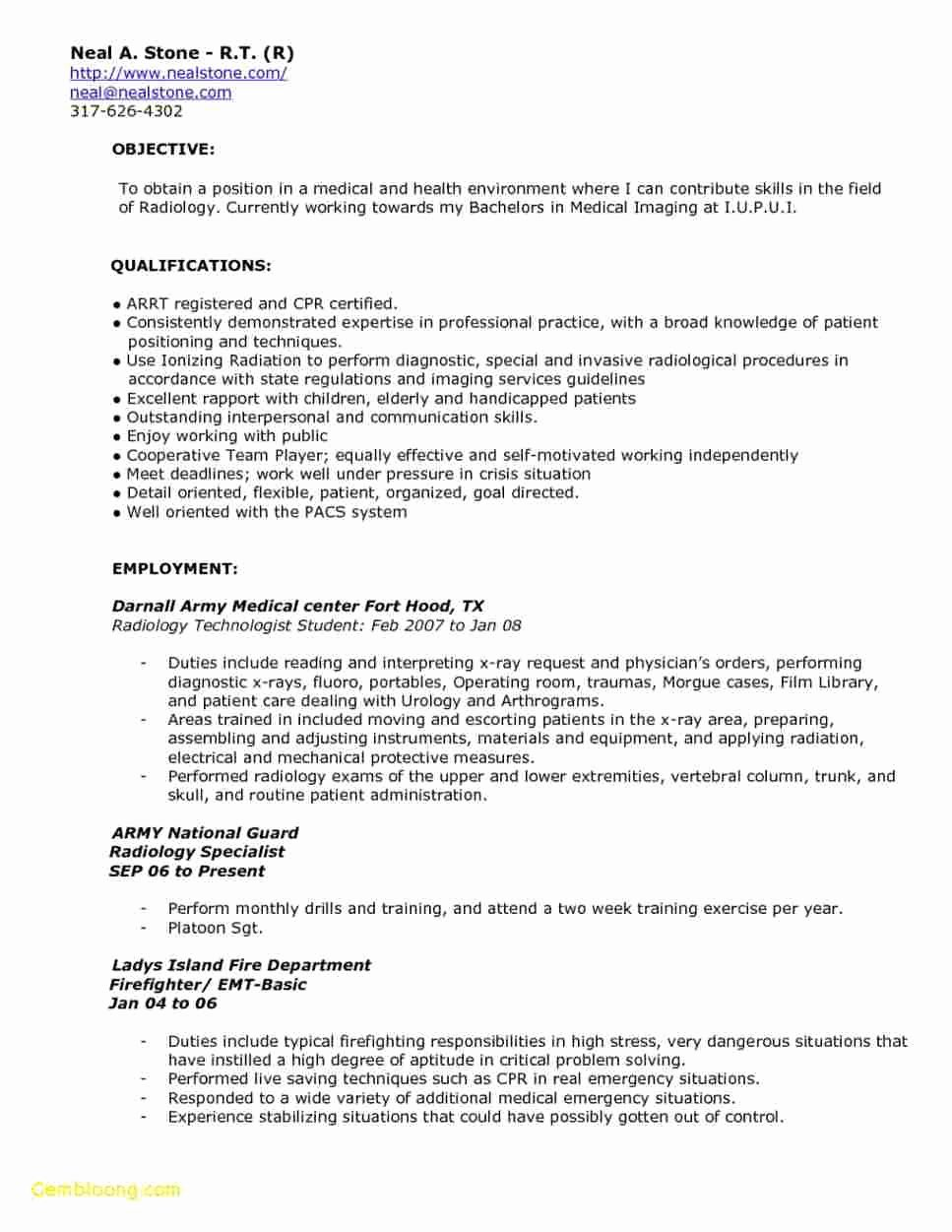 Radiologic Technologist Resume Entry Level