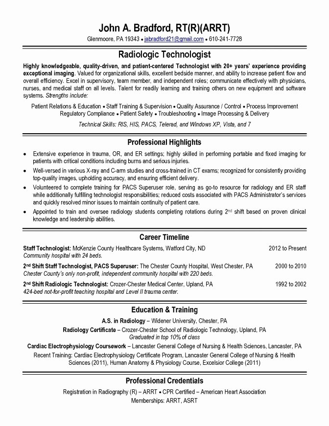Radiologic Technologist Resume Sample