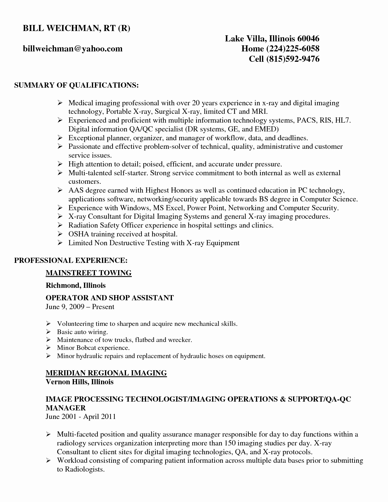 Radiologic Technologist Resume Template Bongdaao