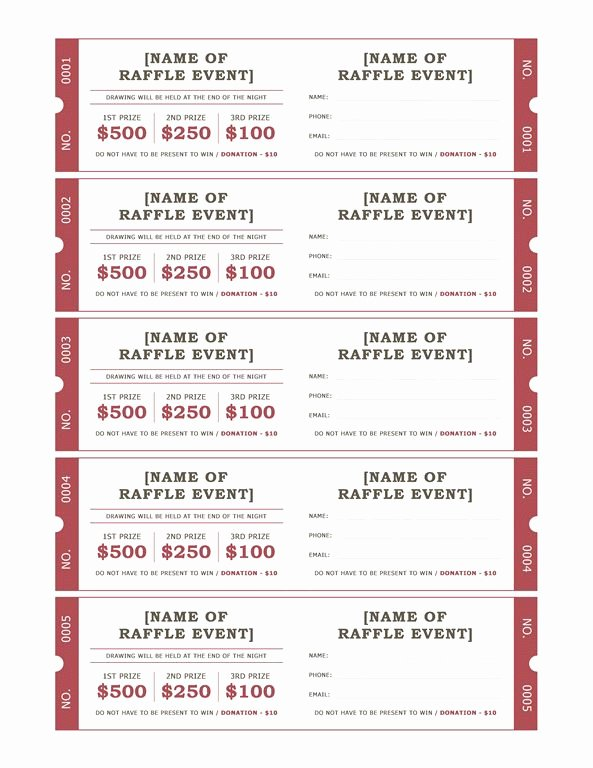 Raffle Tickets Templates Fice