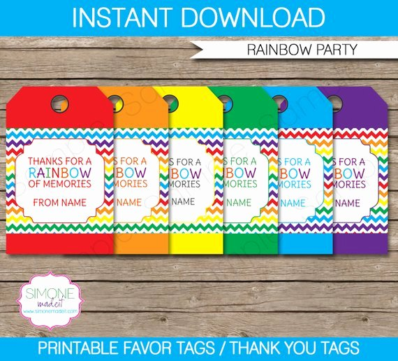 Rainbow Favor Tags Thank You Tags Birthday Party Favors