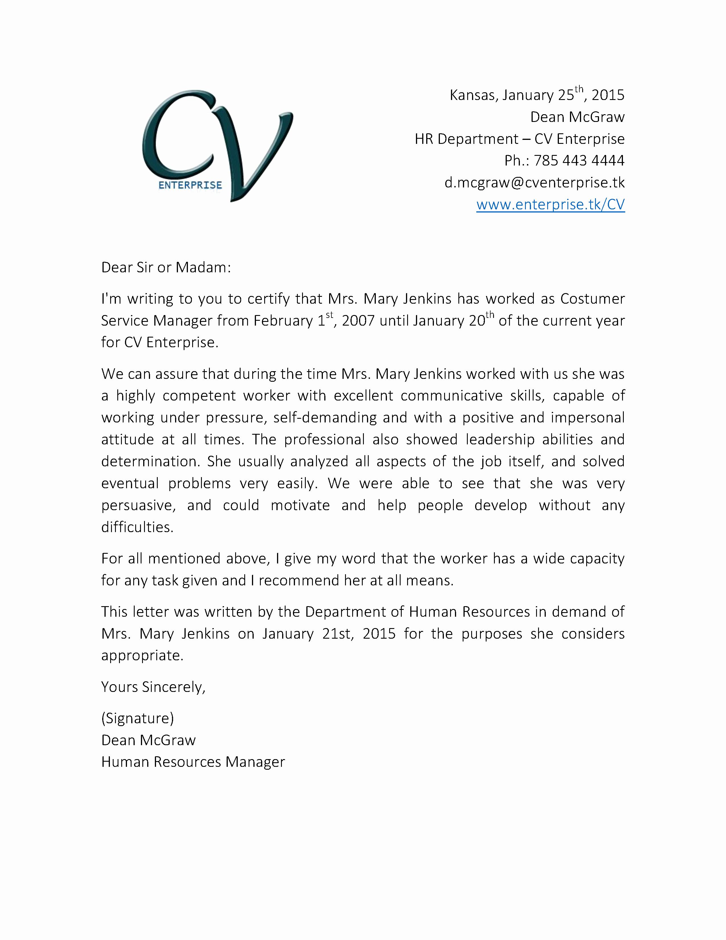 Re Mendation Letter for Customer Service Job 2 Grow