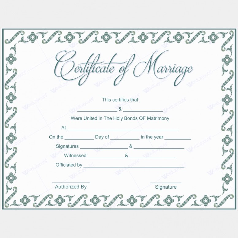 Re Mended 12 Awesome Free Marriage Certificate Template