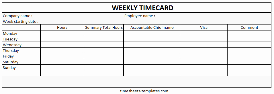 Ready to Use Printable Weekly Time Card with Hour Work