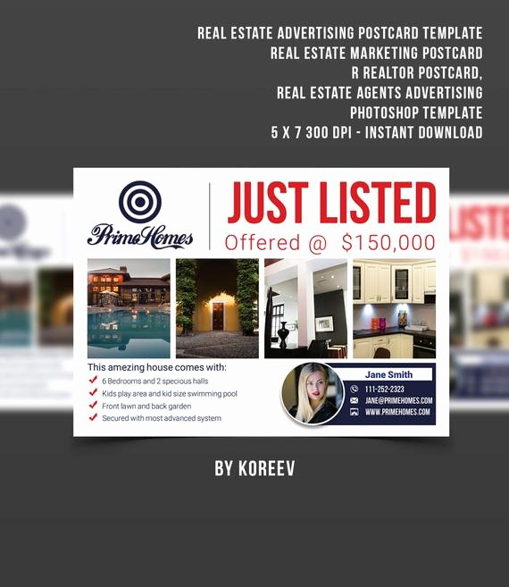 Real Estate Advertising Postcard Template Real Estate