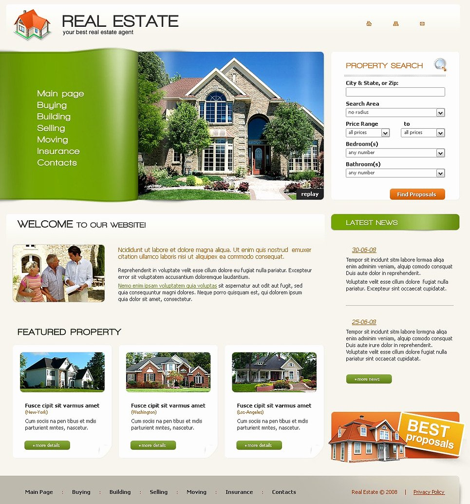 Real Estate Agency Website Template Web Design Templates