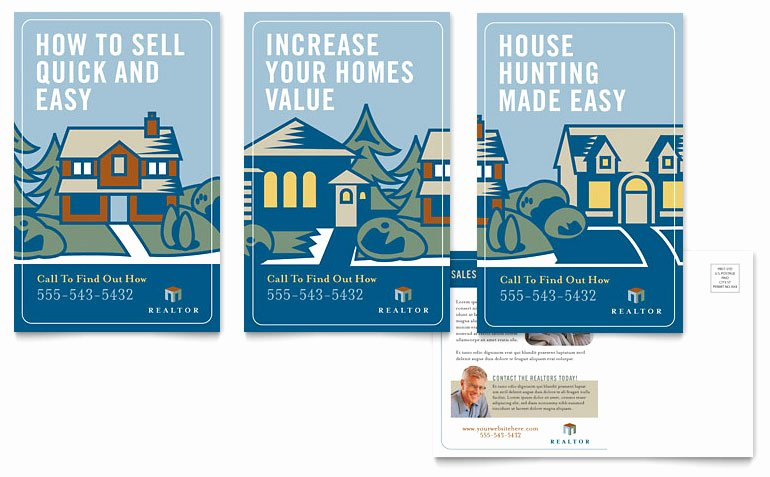 Real Estate Agent Postcard Template Word & Publisher