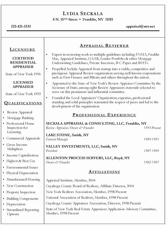 Real Estate Appraiser Resume Example