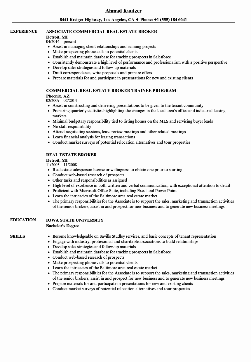 Real Estate Broker Resume Annecarolynbird