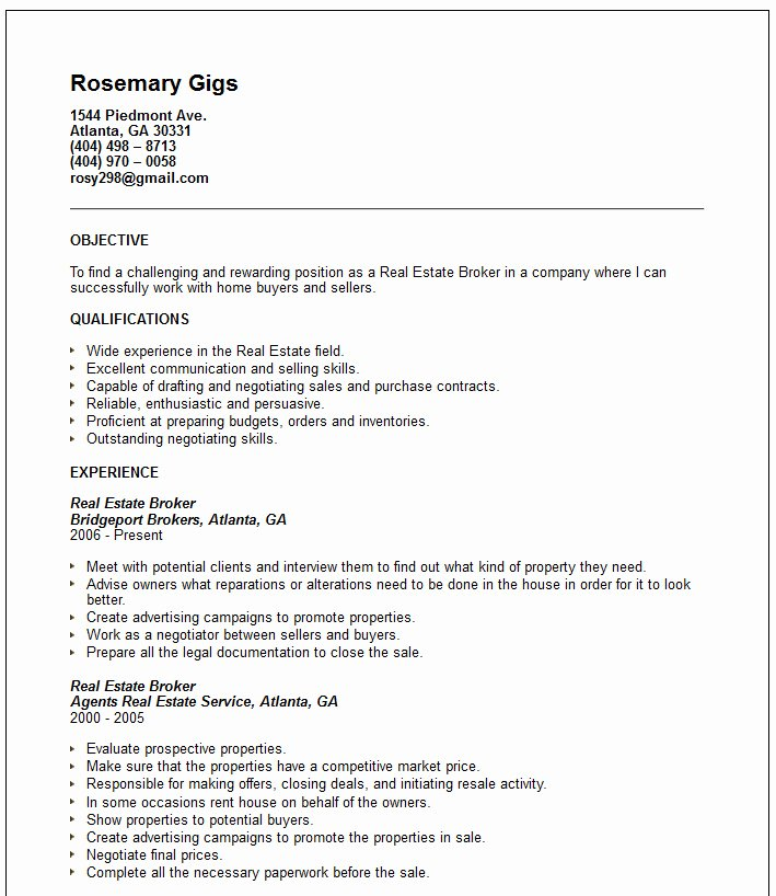 Real Estate Broker Resume Example Free Templates Collection