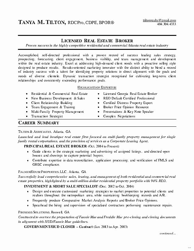 Real Estate Broker Resume – Mkmafo