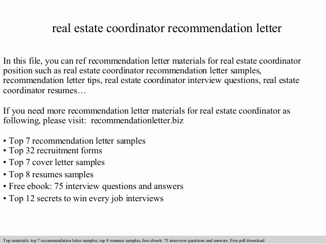 Real Estate Coordinator Re Mendation Letter