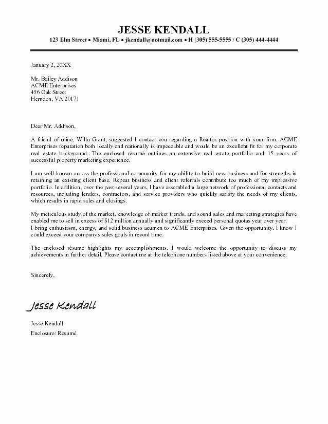 Real Estate Cover Letter Examples Resume Cover Letter