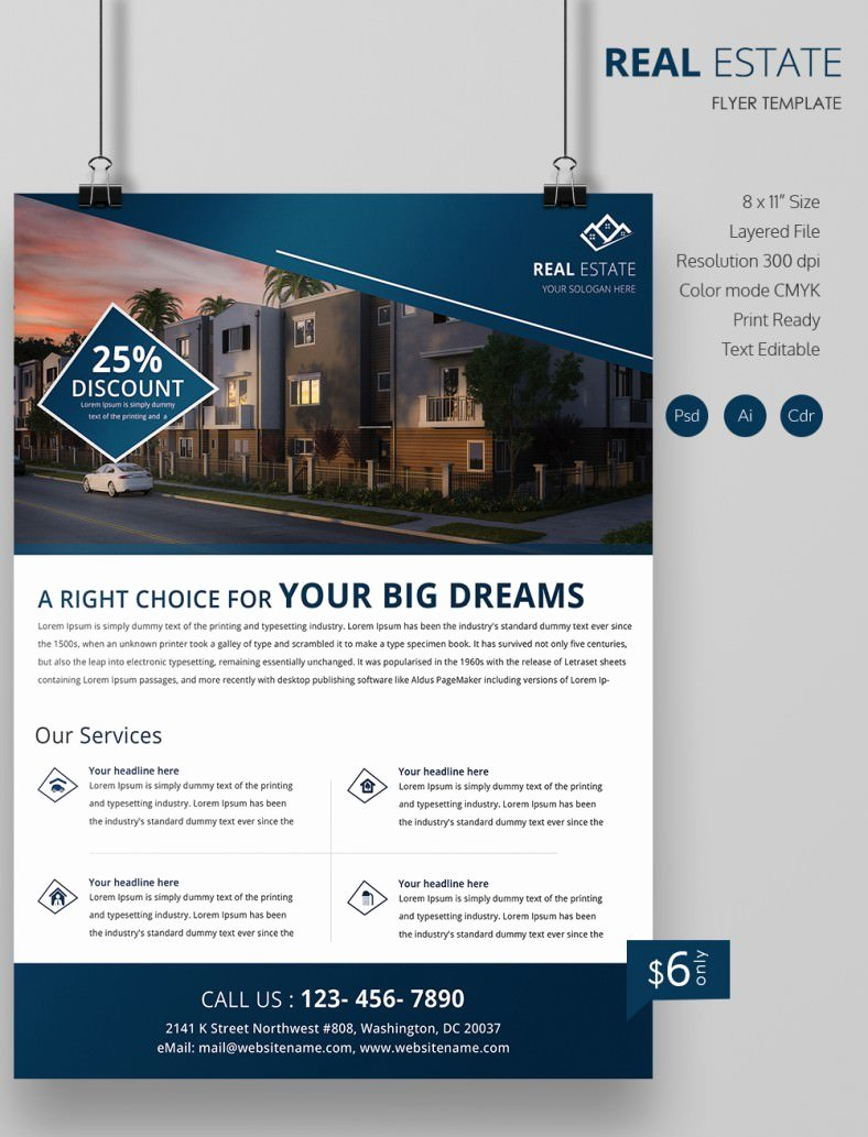 Real Estate Flyer Free Psd Ai Vector Eps for Simple
