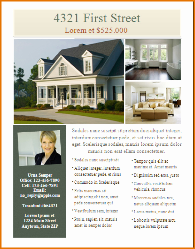 Real Estate Flyer Templates Freereference Letters Words