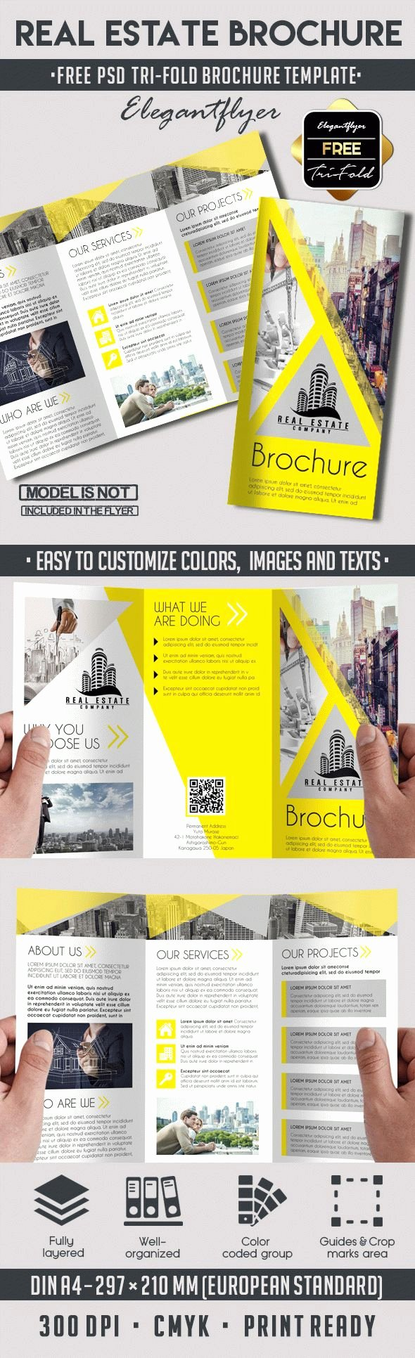 Real Estate – Free Tri Fold Psd Brochure Template – by