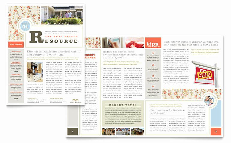 Real Estate Home for Sale Newsletter Template Word