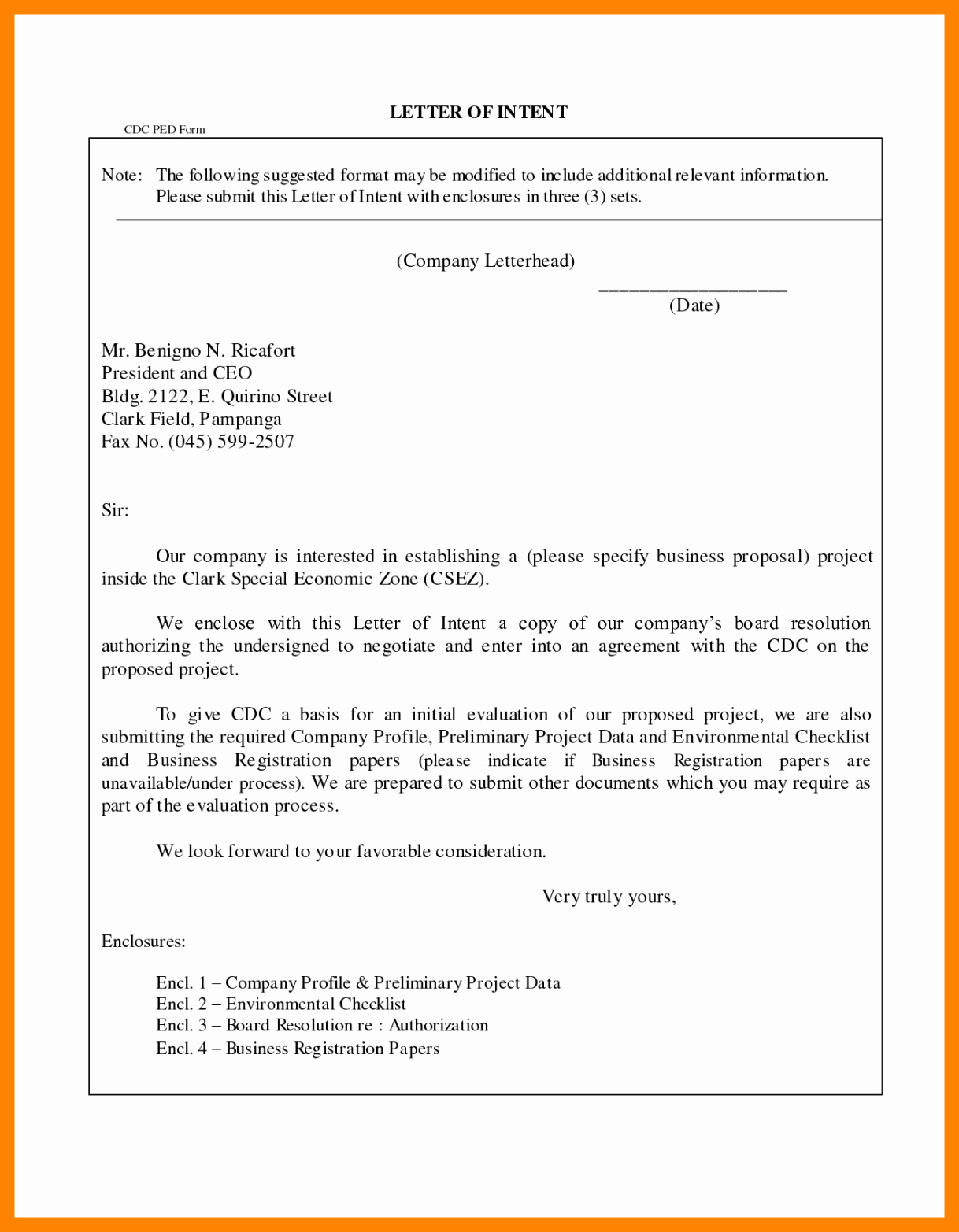 Real Estate Letter Of Intent Template format Example Sample