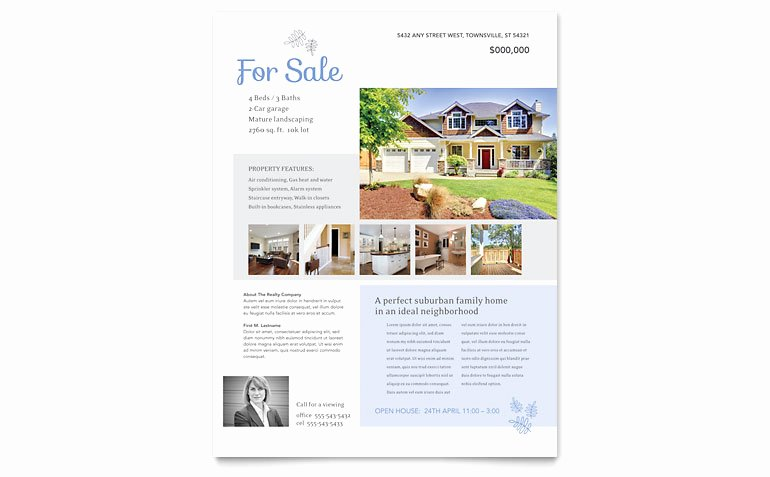 Real Estate Listing Flyer Template Word & Publisher
