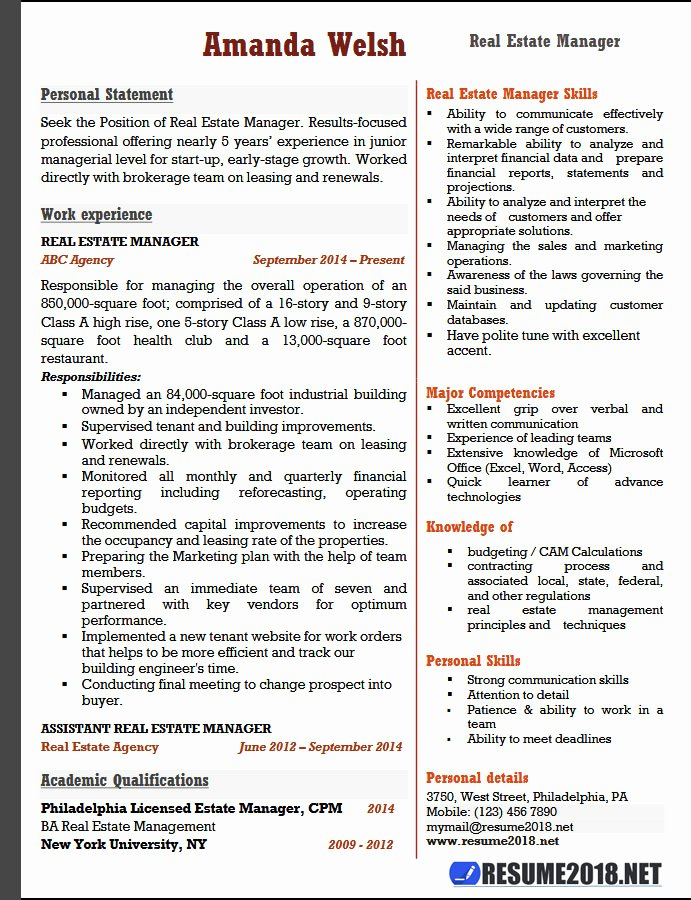 Real Estate Manager Resume Examples 2018 Resume 2018