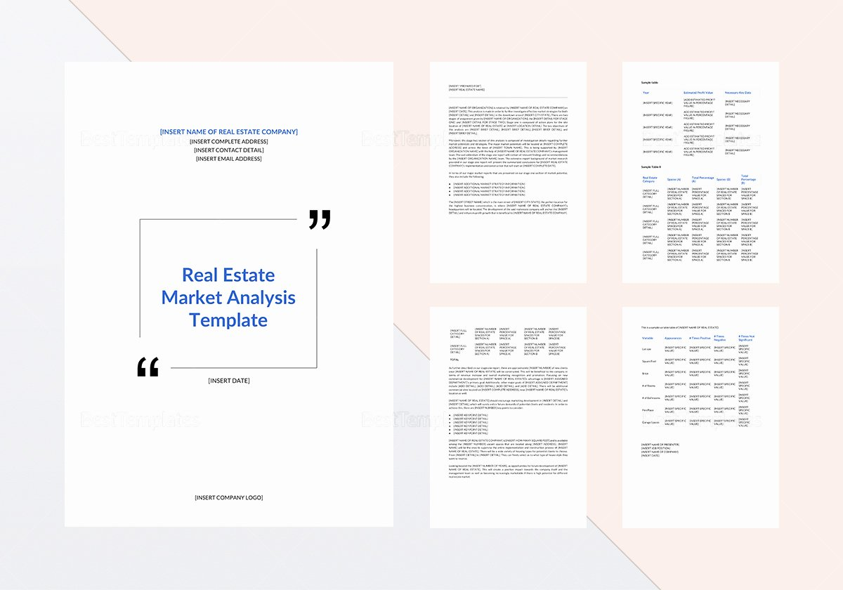 Real Estate Market Analysis Template In Word Google Docs