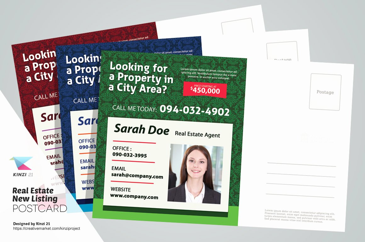 Real Estate New Listing Postcard Card Templates On