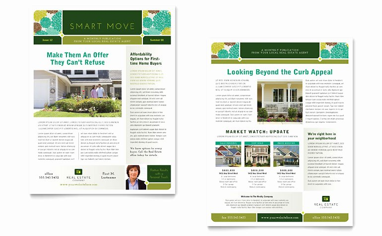 Real Estate Newsletter Template Word & Publisher