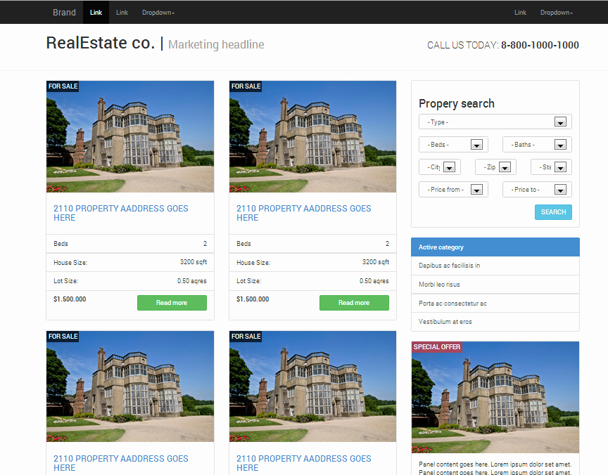 Real Estate Responsive Bootstrap Website Templates On