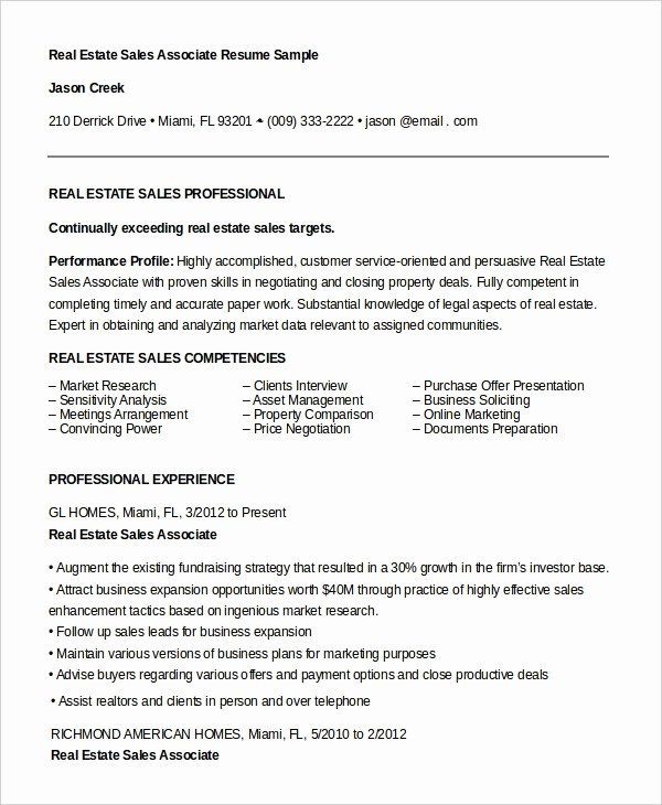Real Estate Sales associate Resume Best Resume Gallery