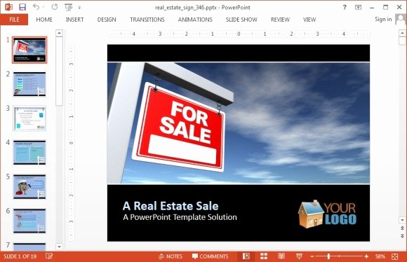Real Estate Sign Powerpoint Template Fppt