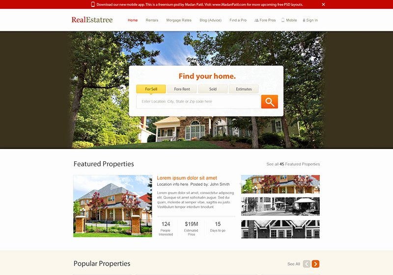 Real Estate Website Design Free Psd Template