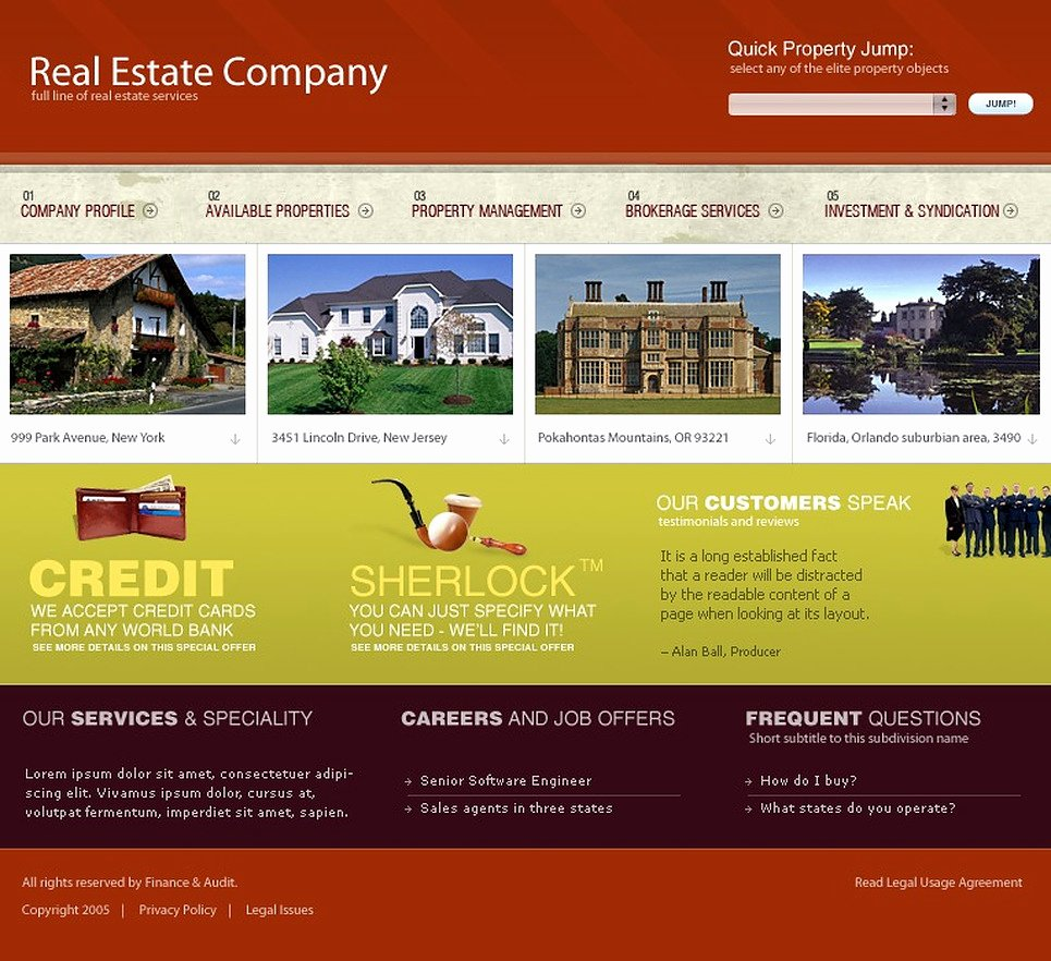 Real Estate Website Template Web Design Templates