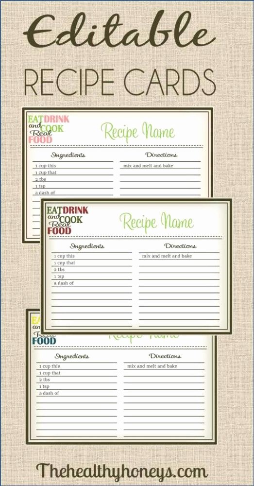 Real Food Recipe Cards Diy Editable