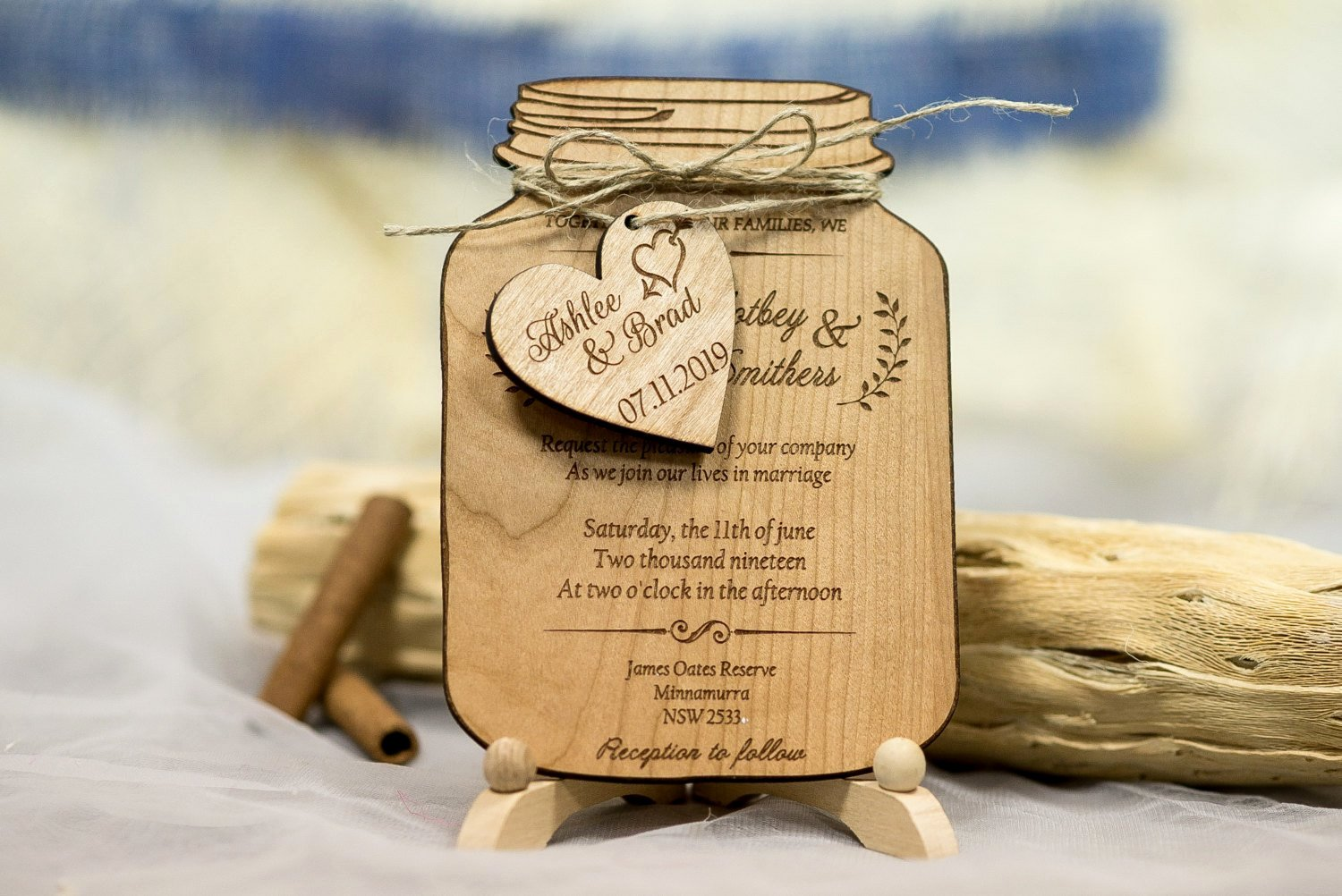 Real Wood Wedding Invitation Mason Jar Mason Jar Wedding