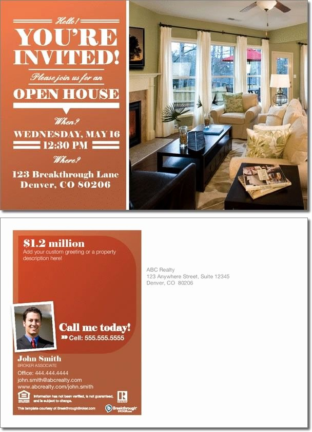 Realestate Open House Invitation Postcard