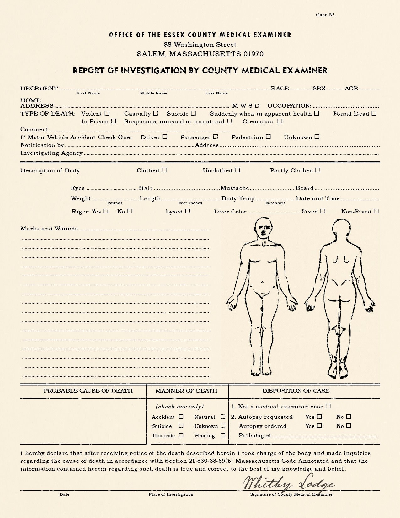 Realistic Blank Police Report Autopsy Report