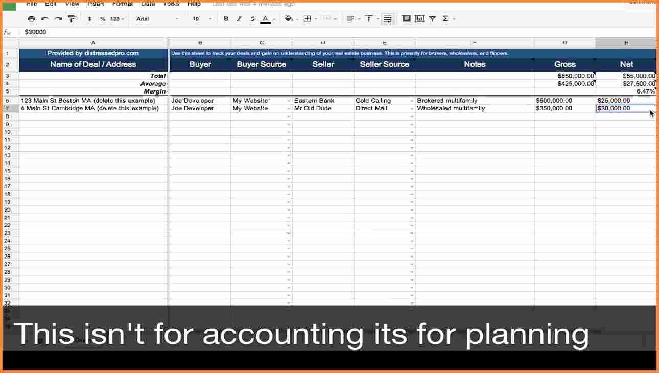 Realtor Expense Tracking Spreadsheet