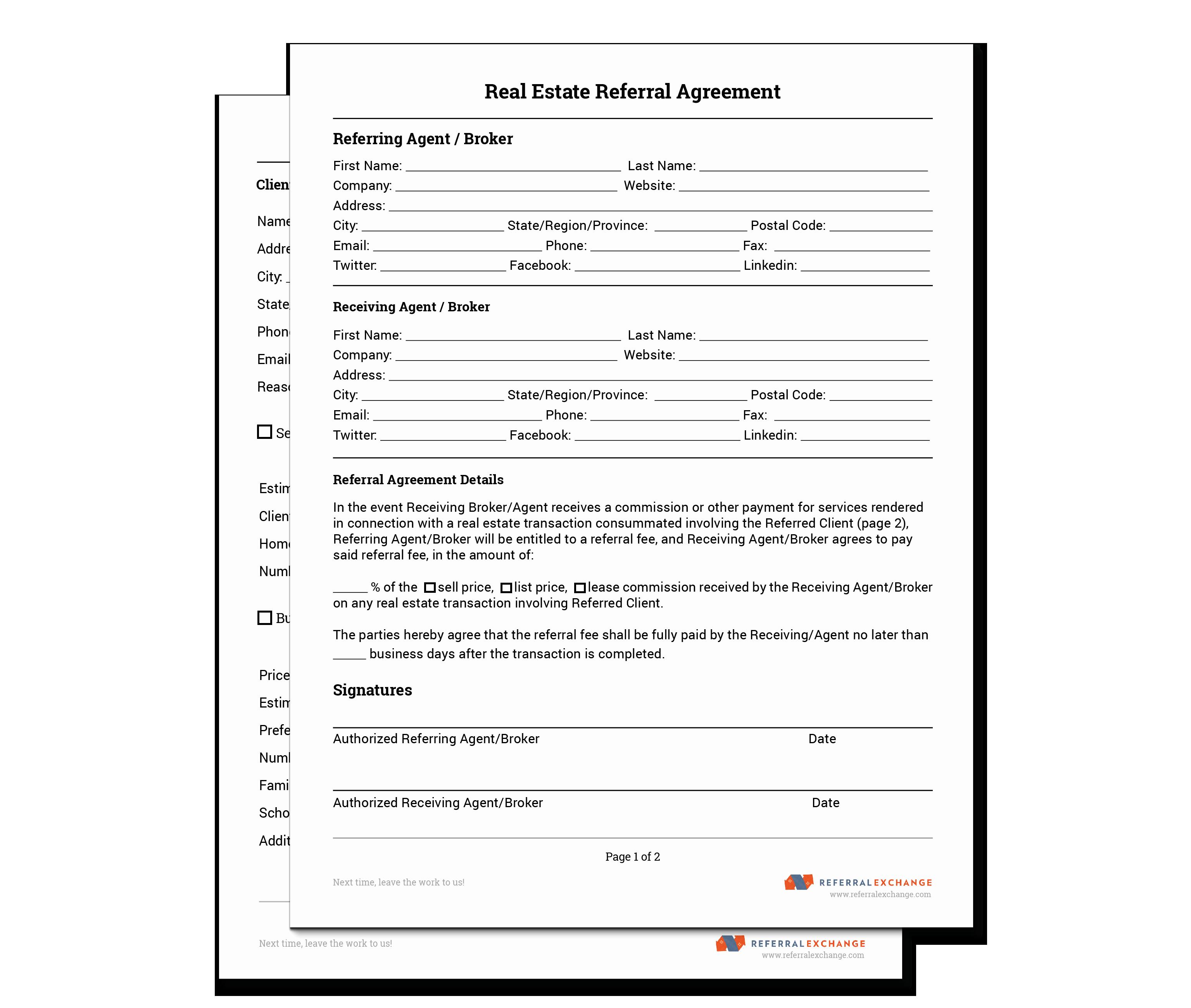 Realtor Referral form Free Download