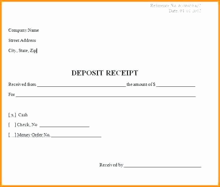 Receipt for Deposit Template Deposit Receipt Template