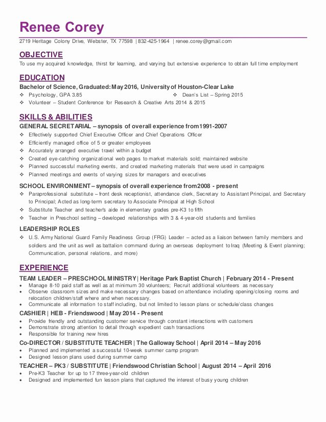 Recent College Graduate In Psychology Resume