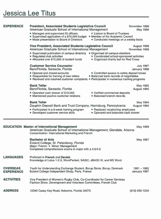 Recent College Graduate Resume Sample