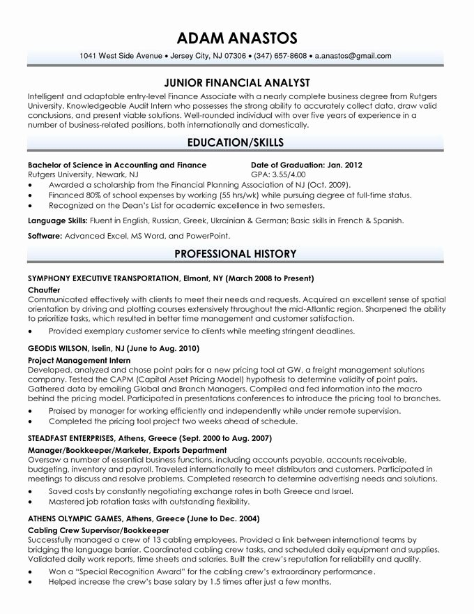 Recent Graduate Resume Objective Best Resume Collection