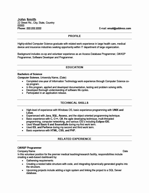 Recent Graduate Resume Sample
