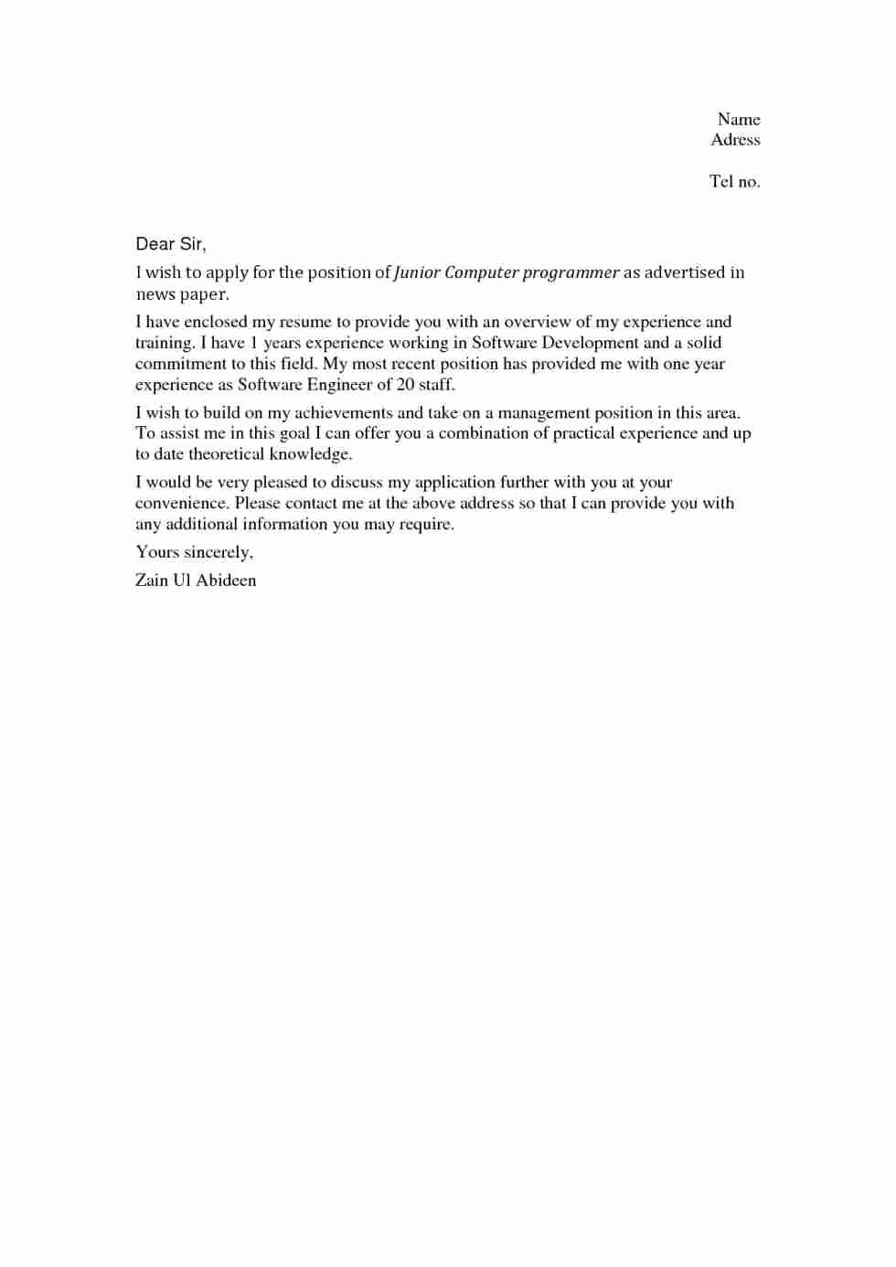 Receptionist Cover Letter Example No Experience