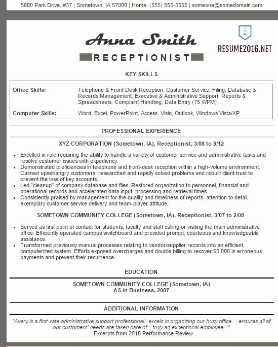 Receptionist Resume Examples 2016