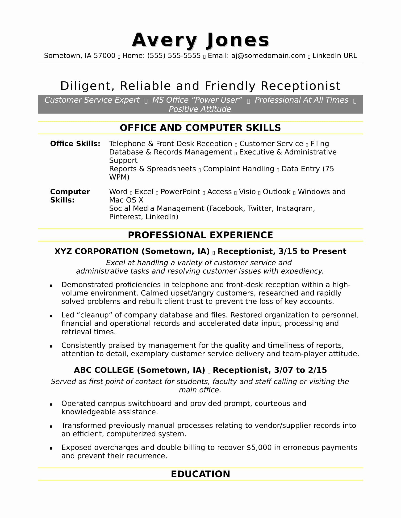 Receptionist Resume Sample