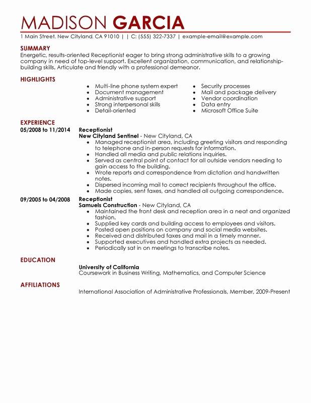 Receptionist Resume Sample My Perfect Resume